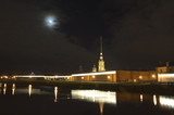peter and paul fortress at night, saint petersburg, russia poster