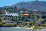 large aircraft landing on corfu island, greece poster