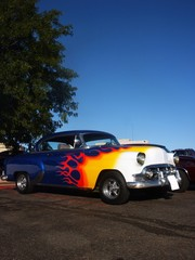 flames on a blue hotrod