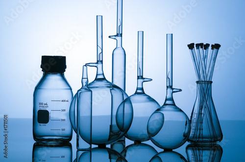 blue glass flasks - 1711501