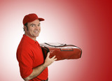 pizza delivery over red poster
