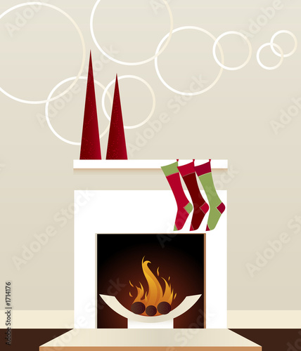 modern holiday fireplace