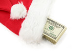 santa furry red  hat and us dollar poster