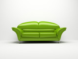 green sofa isolated on white background 3d poster