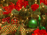 lush red, green, gold christmas tree poster