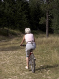 woman cycling along cycle track in the alps poster
