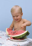 child eat watermelon poster