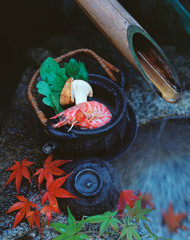 japanese earthenware autumn still-life