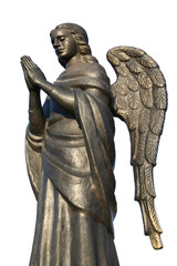 bronze sculpture of a praying angel on a white background 1