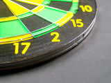 dart board with darts poster