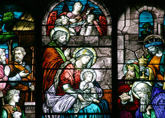 stained glass - nativity scene