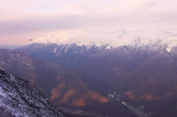 paraglide in mountains, red polyana, sochi