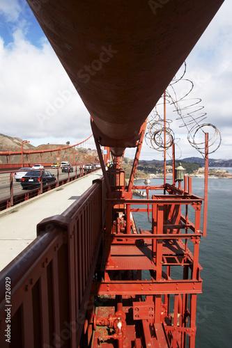Leinwanddruck Bild haupt-trageseil der golden gate bridge