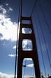 Leinwanddruck Bild pfeiler der golden gate bridge im gegenlicht