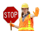 traffic directing stop isolated poster