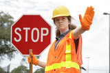 traffic directing stop poster