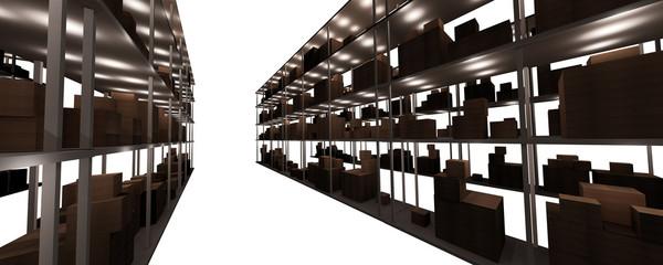 "multiple storeroom shelves ""closeup"""