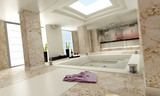 bathroom luxe marble white left poster