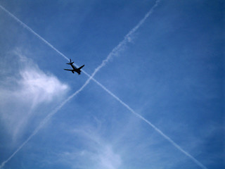 plane and clouds cross