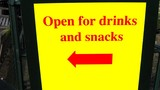 sign of bar/pub/cafe.open for drinks and snacks poster