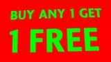 sign.buy any 1 get 1 free.sale.tag.voucher.offer poster