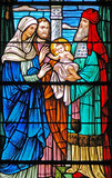 stained glass window of  baby jesus / 3 wise men poster