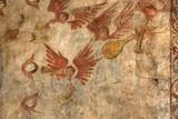 frescoes in alquezar, spain poster
