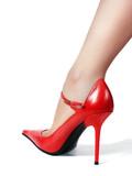 leg in red shoe