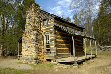 cades cove - log cabin