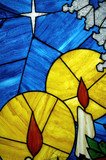 candles in stained glass poster