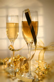 champagne and ribbons/ soft focus poster