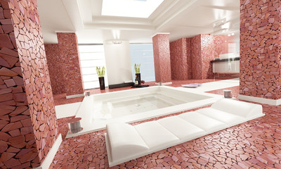bathroom luxe marble red lux