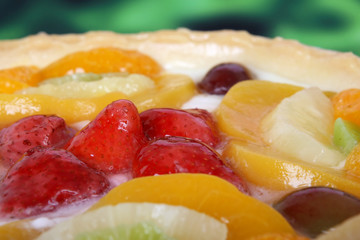 summer garden fruits in a sweet glazed cream pie d