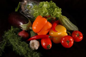 vegetables on black