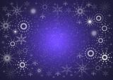 christmas blue card. magic snowflakes poster