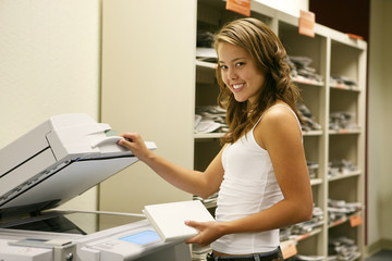 student making photocopies