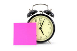 alarm clock and notepaper, time to go home poster