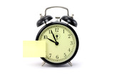 alarm clock and notepaper poster