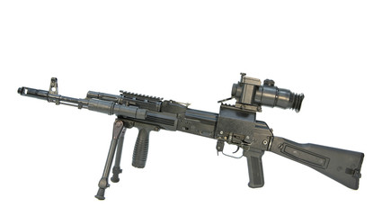 kalashnikov submachine gun with optical sight