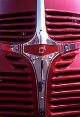 old classics: front end grille of 1946 pickup, red