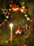 christmas tree and burning candle poster