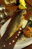 baked trout with dill sauce poster