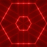 red wavy hexagon poster
