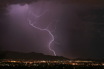 lightning thunderstorm over the city