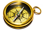 old style gold compass on white background poster