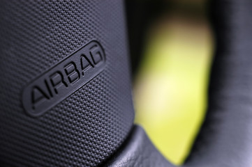 steering wheel airbag closeup
