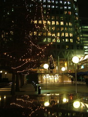 city lights at night in canary wharf, london