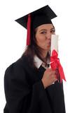 female graduate kissing her diploma poster