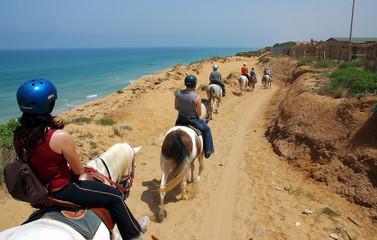 riders walking along the sea