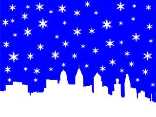 philadelphia skyline in winter